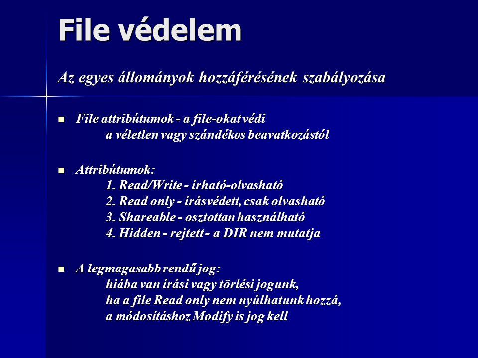 File védelem Az egyes állományok hozzáférésének szabályozása  File attribútumok - a file-okat védi a véletlen vagy szándékos beavatkozástól  Attribú