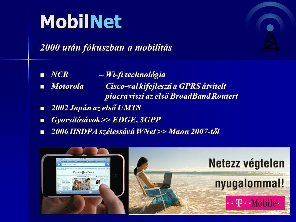 MobilNet 2000 után fókuszban a mobilitás  NCR – Wi-fi technológia  Motorola – Cisco-val kifejleszti a GPRS átvitelt piacra viszi az első BroadBand R