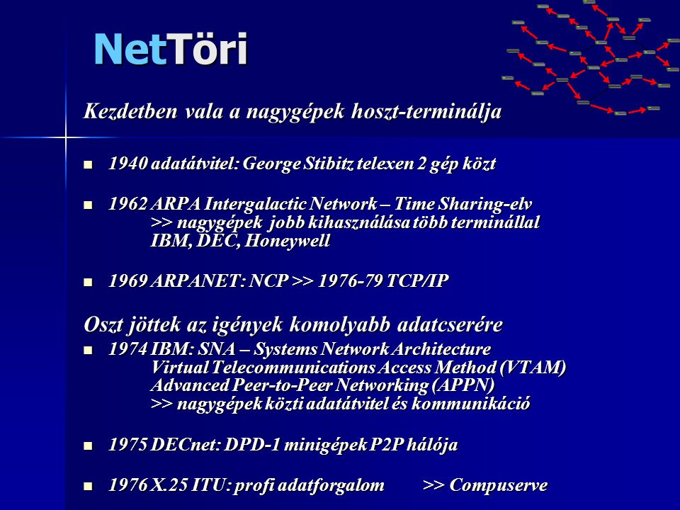 NetTöri Kezdetben vala a nagygépek hoszt-terminálja  1940 adatátvitel: George Stibitz telexen 2 gép közt  1962 ARPA Intergalactic Network – Time Sha
