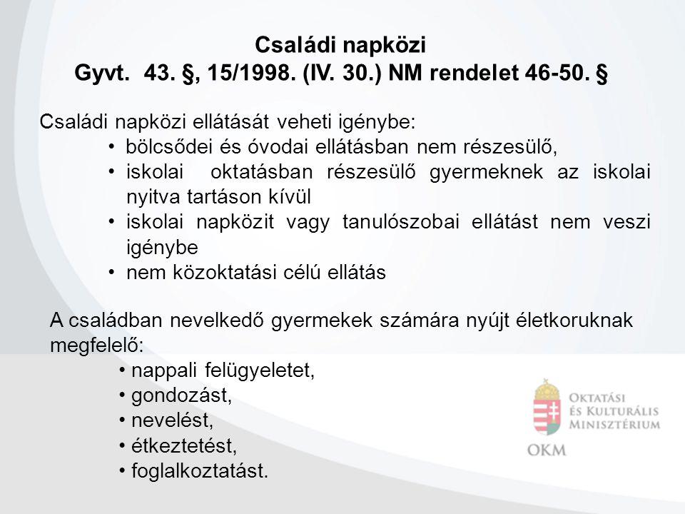Családi napközi Gyvt. 43. §, 15/1998. (IV. 30.) NM rendelet 46-50. § Családi napközi ellátását veheti igénybe: • bölcsődei és óvodai ellátásban nem ré