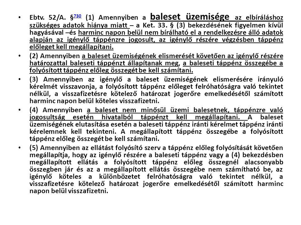 • Ebtv. 52/A. § 730 (1) Amennyiben a baleset üzemisége az elbíráláshoz szükséges adatok hiánya miatt – a Ket. 33. § (3) bekezdésének figyelmen kívül h