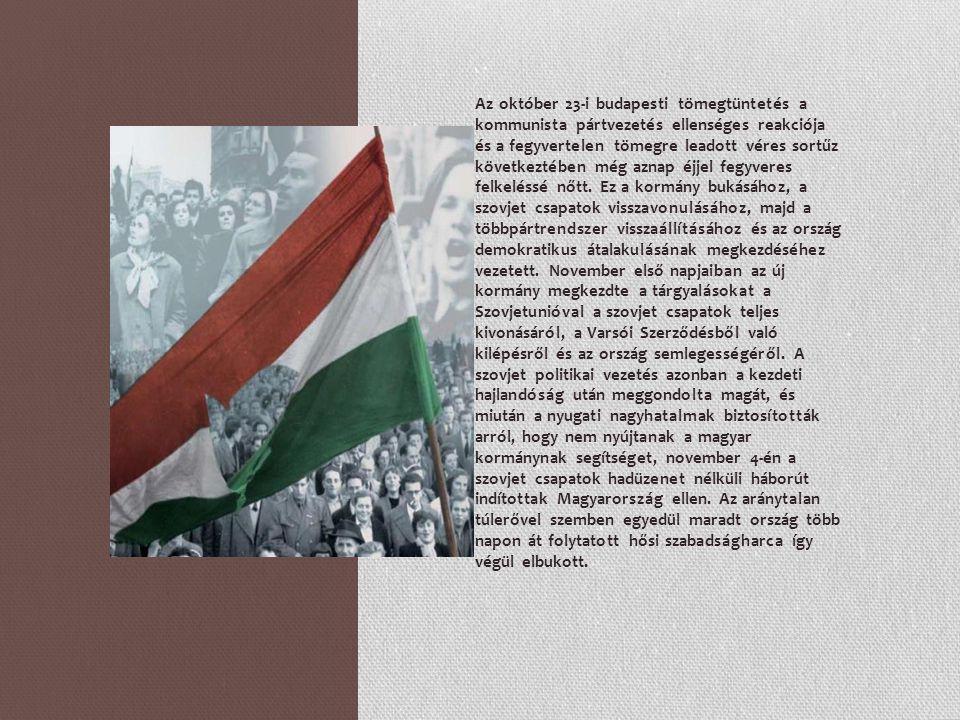 A harcokban a titkosítás alól 1993-ban feloldott statisztikai adatok szerint 2652 magyar és 720 szovjet állampolgár esett el.[2] A forradalom következményeként kb.