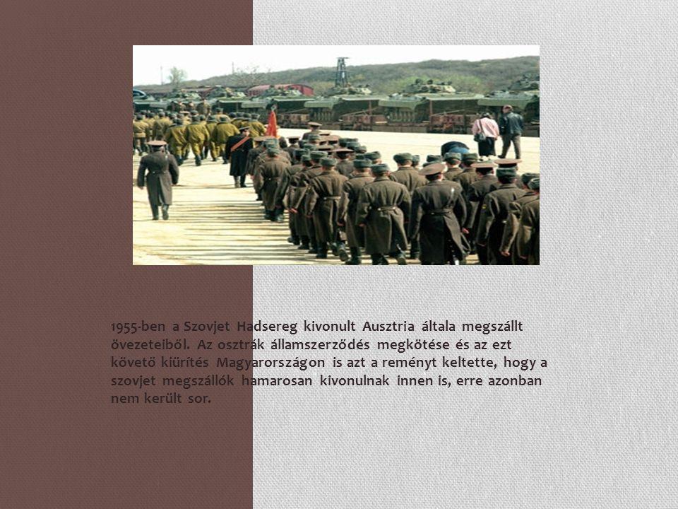 1955-ben a Szovjet Hadsereg kivonult Ausztria általa megszállt övezeteiből. Az osztrák államszerződés megkötése és az ezt követő kiürítés Magyarország