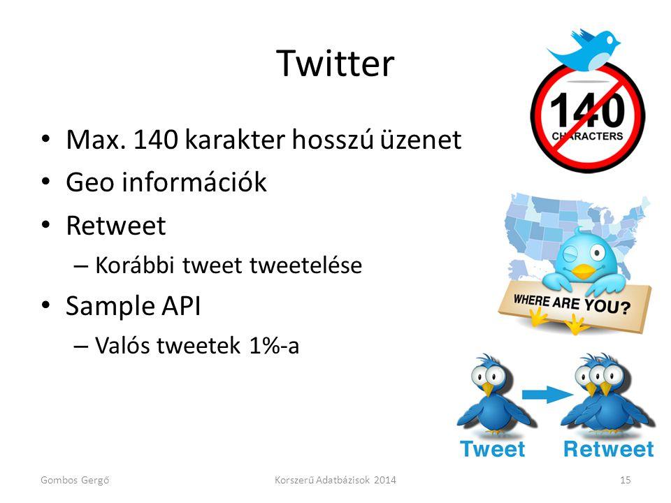 Twitter • Max. 140 karakter hosszú üzenet • Geo információk • Retweet – Korábbi tweet tweetelése • Sample API – Valós tweetek 1%-a Gombos GergőKorszer