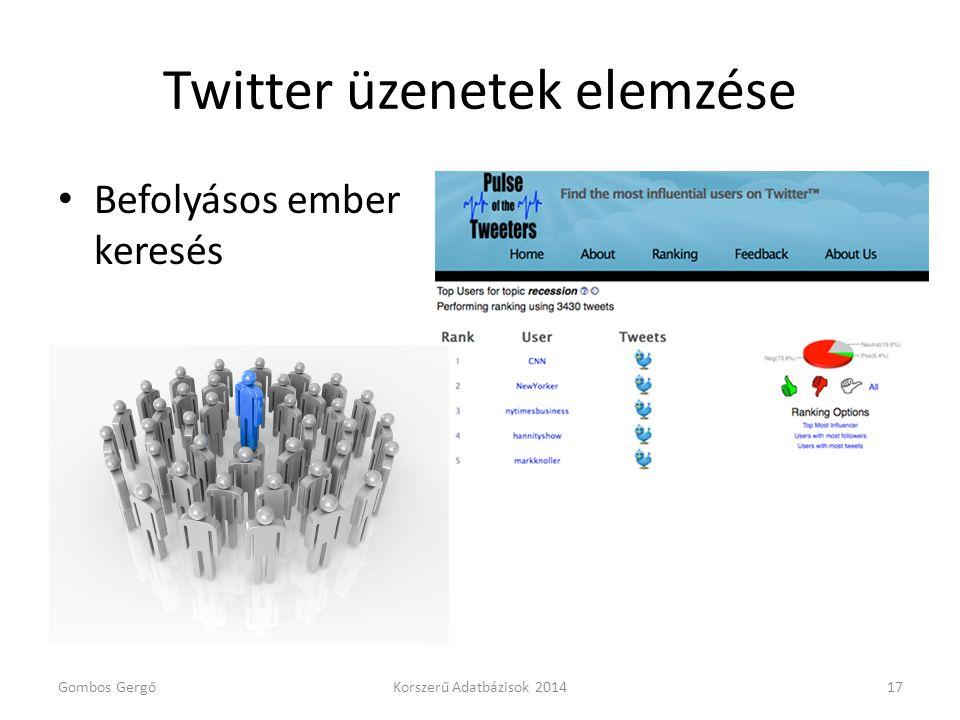 Twitter üzenetek elemzése • Befolyásos ember keresés Gombos GergőKorszerű Adatbázisok 201417