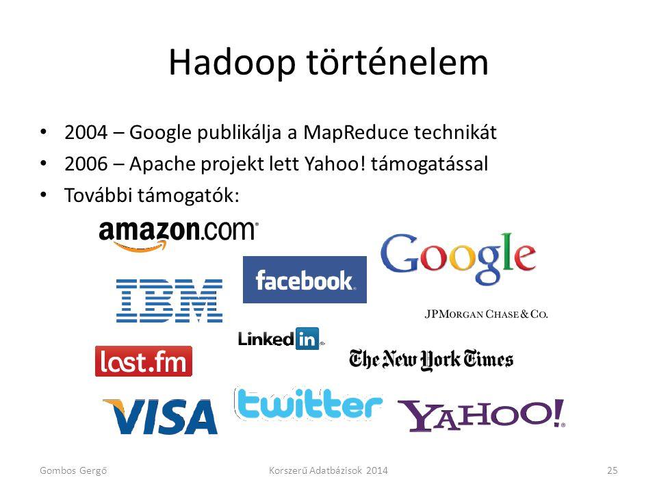 Hadoop történelem • 2004 – Google publikálja a MapReduce technikát • 2006 – Apache projekt lett Yahoo! támogatással • További támogatók: Gombos GergőK