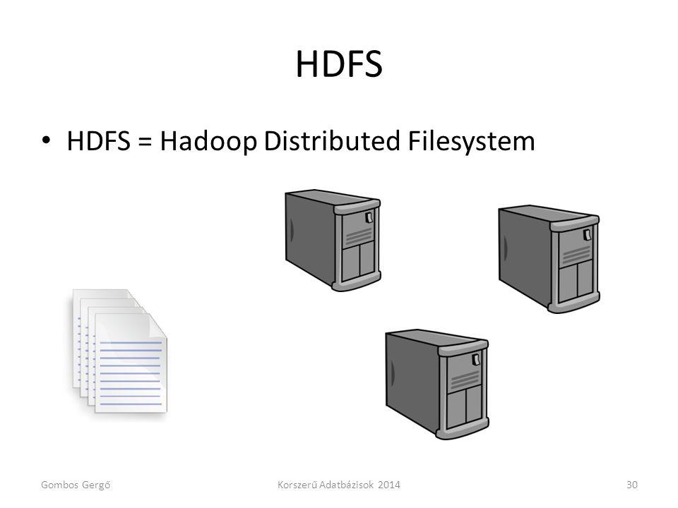 HDFS • HDFS = Hadoop Distributed Filesystem Gombos GergőKorszerű Adatbázisok 201430