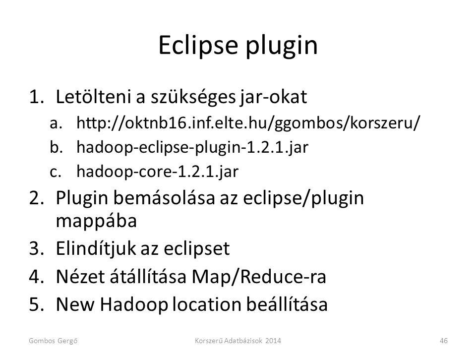 Eclipse plugin 1.Letölteni a szükséges jar-okat a.http://oktnb16.inf.elte.hu/ggombos/korszeru/ b.hadoop-eclipse-plugin-1.2.1.jar c.hadoop-core-1.2.1.j
