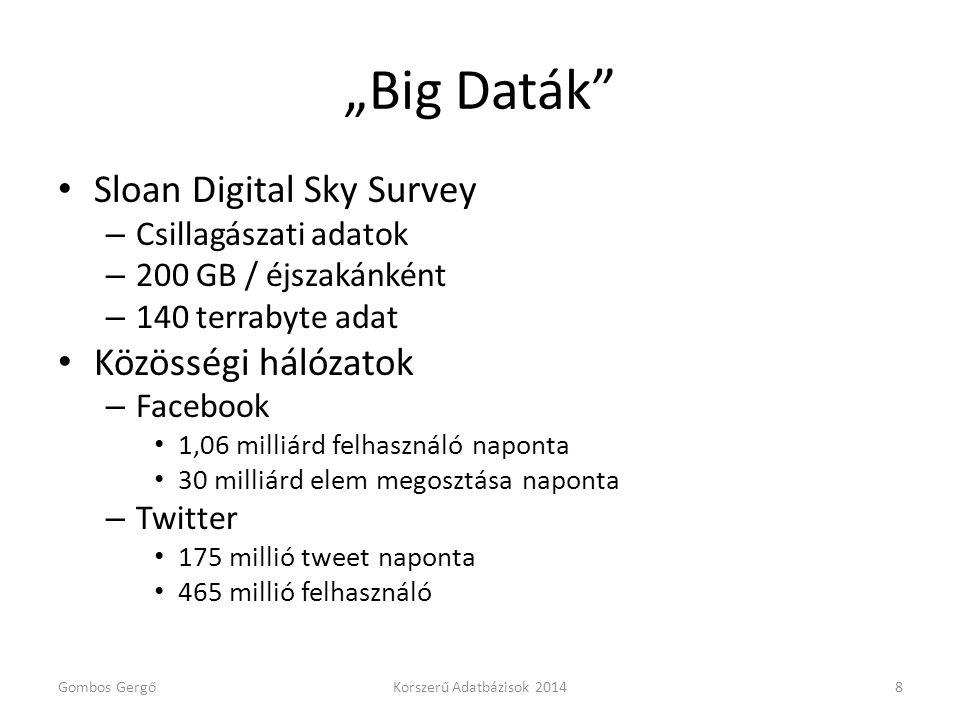 """""""Big Daták"""" • Sloan Digital Sky Survey – Csillagászati adatok – 200 GB / éjszakánként – 140 terrabyte adat • Közösségi hálózatok – Facebook • 1,06 mil"""