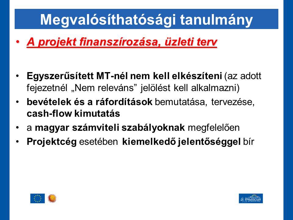 """Megvalósíthatósági tanulmány •A projekt finanszírozása, üzleti terv •Egyszerűsített MT-nél nem kell elkészíteni (az adott fejezetnél """"Nem releváns"""" je"""