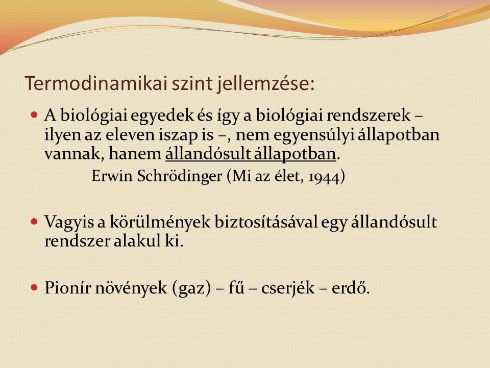 Termodinamikai szint jellemzése:  A biológiai egyedek és így a biológiai rendszerek – ilyen az eleven iszap is –, nem egyensúlyi állapotban vannak, h