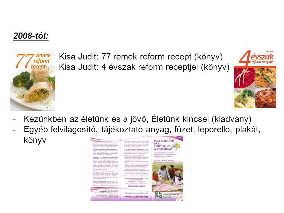 2008-tól: Kisa Judit: 77 remek reform recept (könyv) Kisa Judit: 4 évszak reform receptjei (könyv) -Kezünkben az életünk és a jövő, Életünk kincsei (k