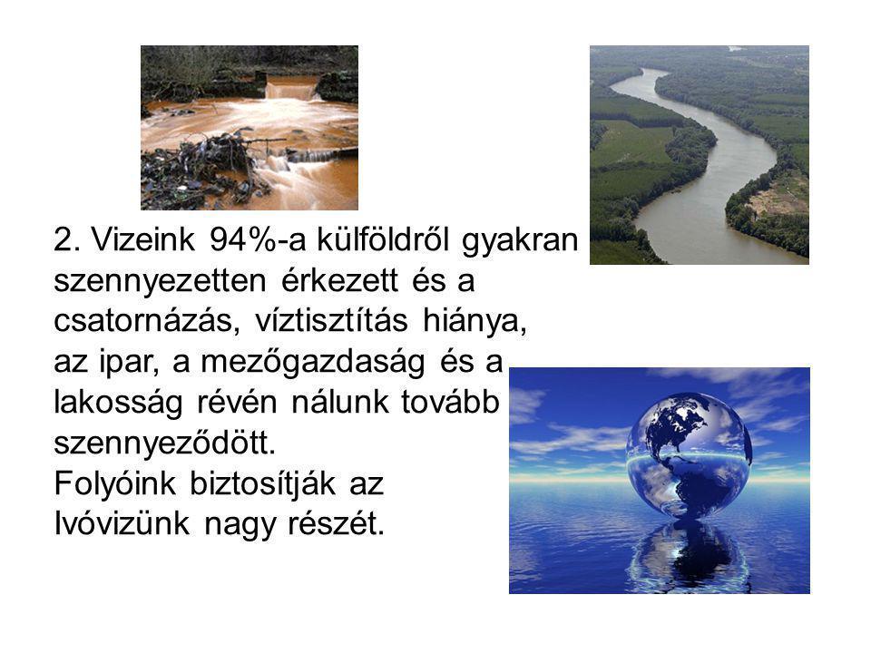 2. Vizeink 94%-a külföldről gyakran szennyezetten érkezett és a csatornázás, víztisztítás hiánya, az ipar, a mezőgazdaság és a lakosság révén nálunk t