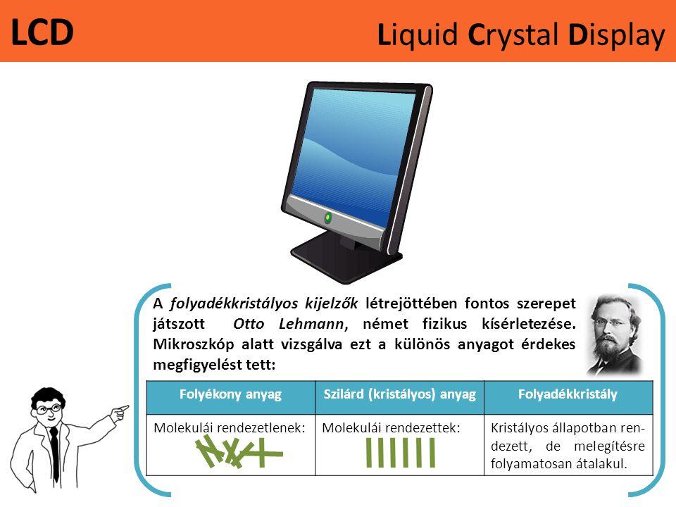LCD Liquid Crystal Display A folyadékkristályos kijelzők létrejöttében fontos szerepet játszott Otto Lehmann, német fizikus kísérletezése. Mikroszkóp