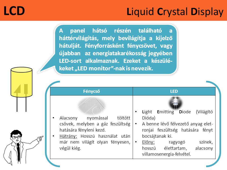 LCD Liquid Crystal Display A panel hátsó részén található a háttérvilágítás, mely bevilágítja a kijelző hátulját. Fényforrásként fénycsövet, vagy újab