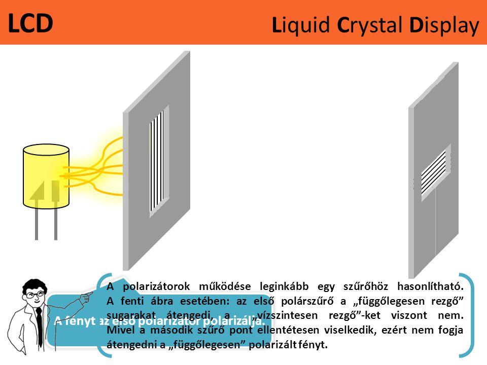 LCD Liquid Crystal Display A fényt az első polarizátor polarizálja. A polarizátorok működése leginkább egy szűrőhöz hasonlítható. A fenti ábra esetébe
