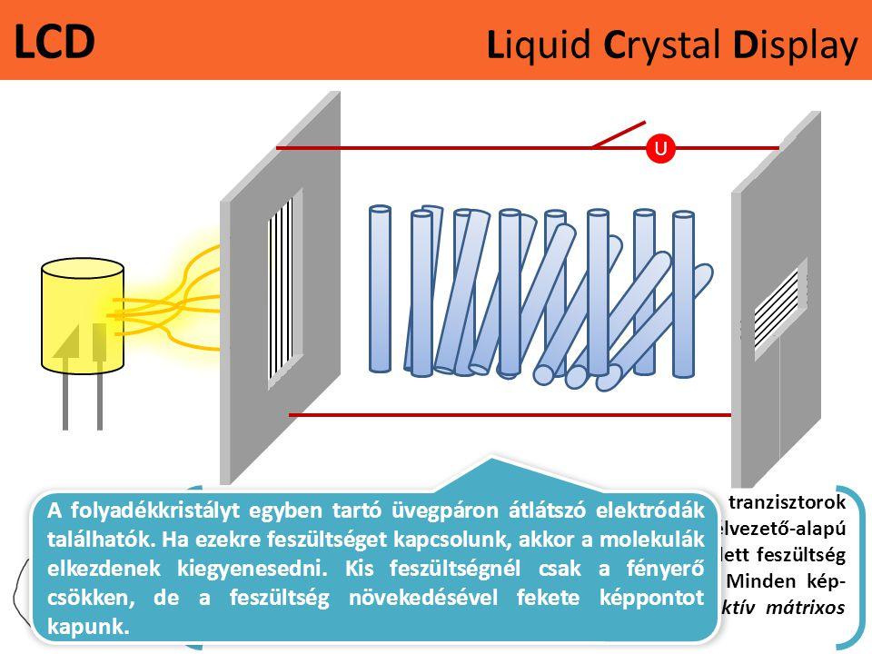 LCD Liquid Crystal Display U Napjaink kijelzőit úgynevezett vékonyfilm tranzisztorok (TFT: Thin Film Transistor) vezérlik. A tranzisztor egy félvezető
