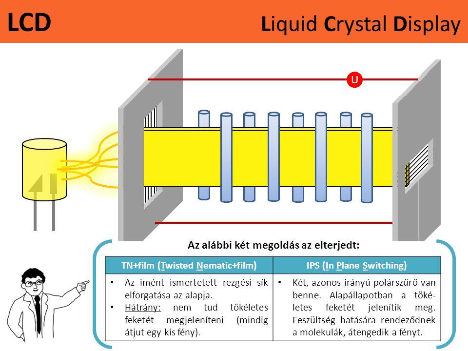 LCD Liquid Crystal Display U Az alábbi két megoldás az elterjedt: TN+film (Twisted Nematic+film)IPS (In Plane Switching) • Az imént ismertetett rezgési sík elforgatása az alapja.