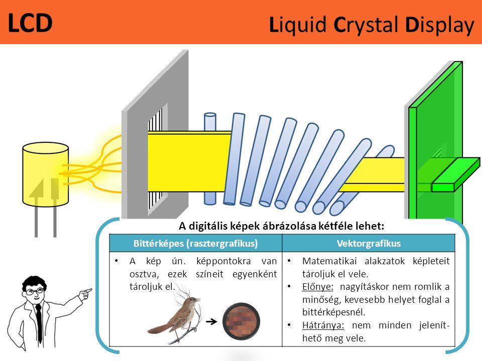 LCD Liquid Crystal Display A digitális képek ábrázolása kétféle lehet: Bittérképes (rasztergrafikus)Vektorgrafikus • A kép ún. képpontokra van osztva,