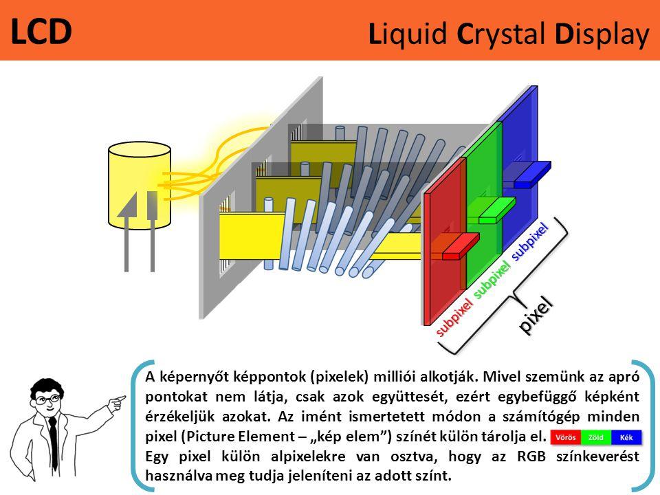 LCD Liquid Crystal Displaypixel subpixel subpixel subpixel A képernyőt képpontok (pixelek) milliói alkotják. Mivel szemünk az apró pontokat nem látja,