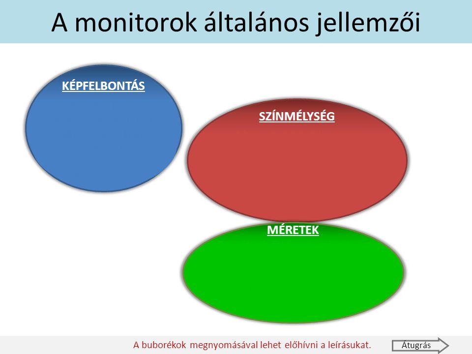 A monitorok általános jellemzői KÉPFELBONTÁS Megadja, hogy a képen hány pontból áll egy sor és hány sorból egy kép. Pl.: Full HD: 1920x1080 Átugrás A