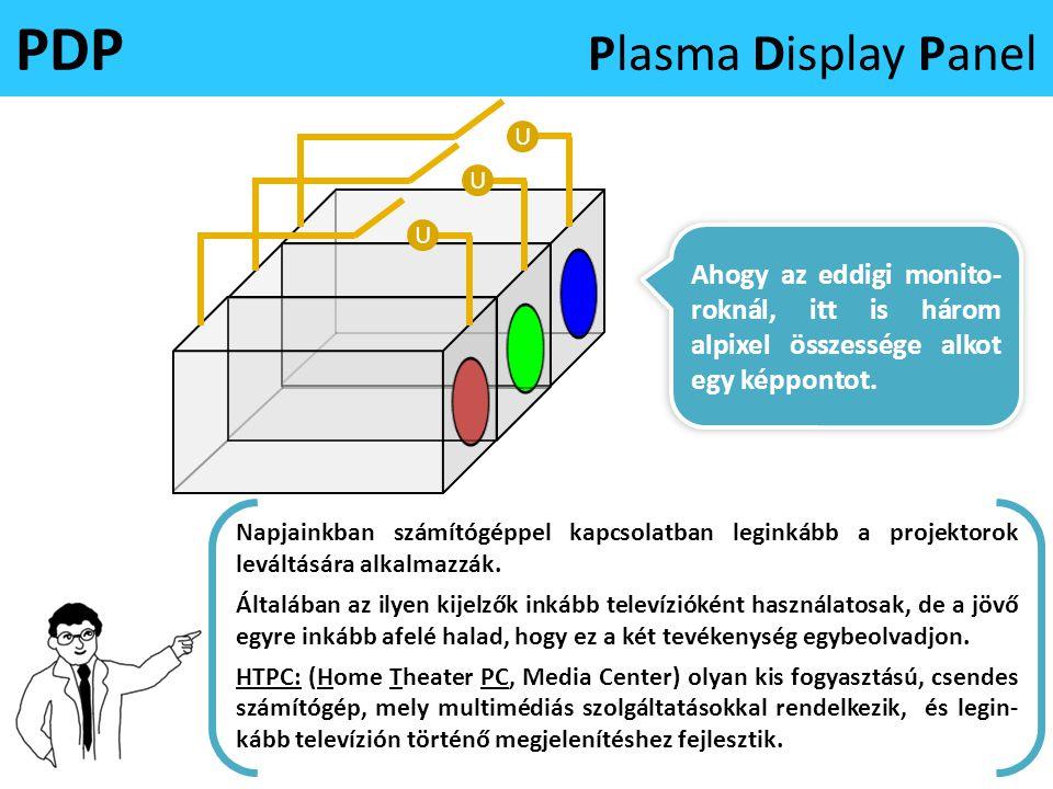 U PDP Plasma Display Panel U Ahogy az eddigi monito- roknál, itt is három alpixel összessége alkot egy képpontot. U Ugyan a gyártástechnológia eljárás
