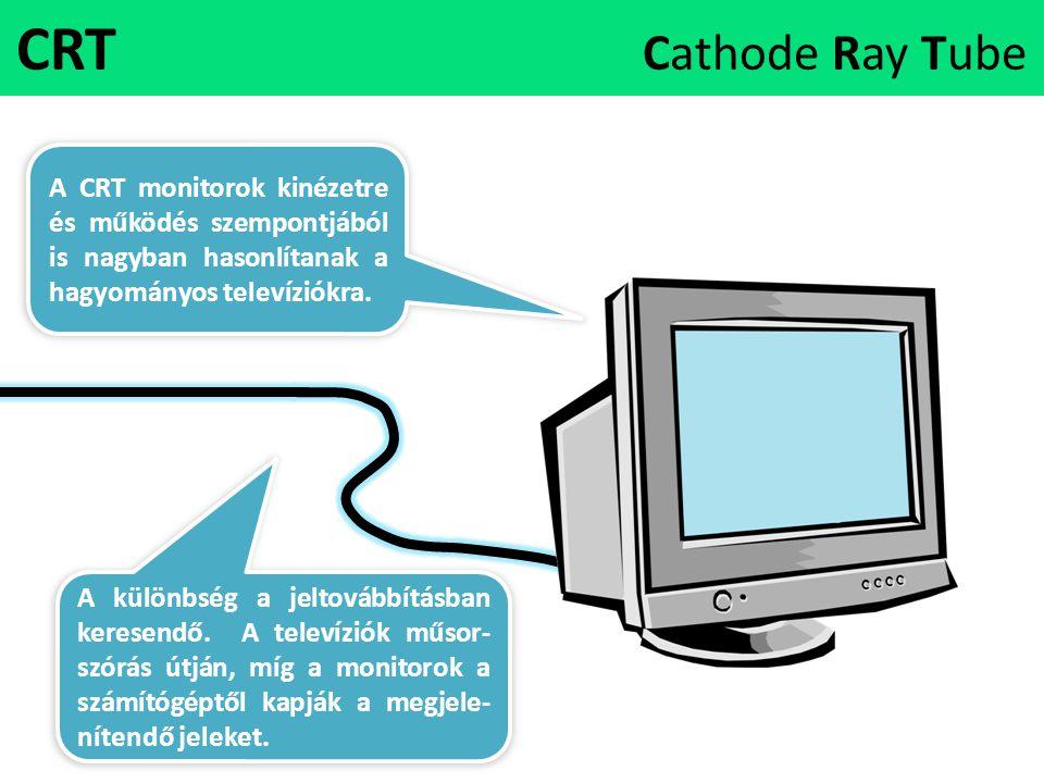 CRT Cathode Ray Tube A CRT monitorok kinézetre és működés szempontjából is nagyban hasonlítanak a hagyományos televíziókra. A különbség a jeltovábbítá