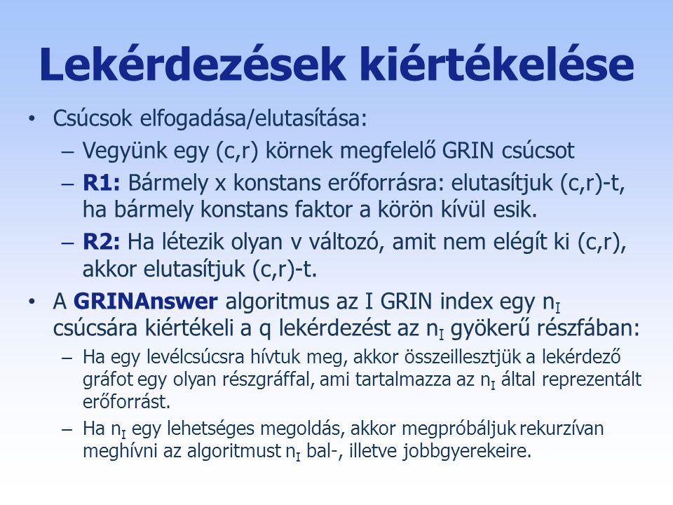 Lekérdezések kiértékelése • Csúcsok elfogadása/elutasítása: – Vegyünk egy (c,r) körnek megfelelő GRIN csúcsot – R1: Bármely x konstans erőforrásra: elutasítjuk (c,r)-t, ha bármely konstans faktor a körön kívül esik.