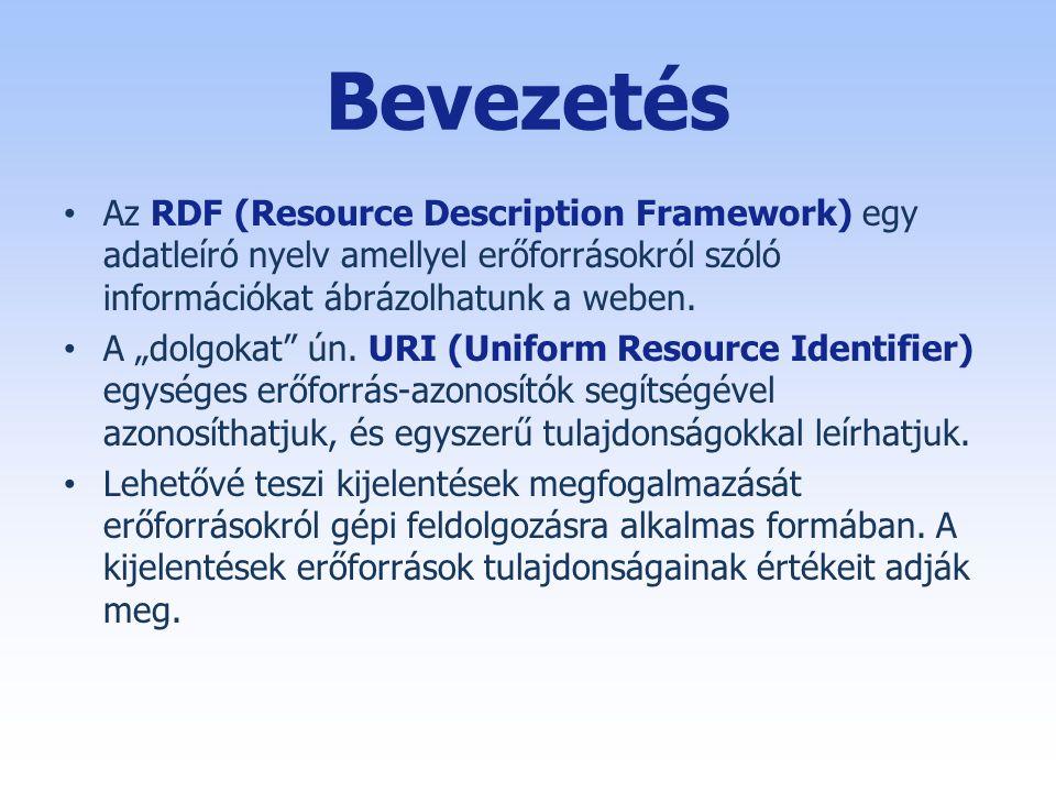 Bevezetés • Az RDF (Resource Description Framework) egy adatleíró nyelv amellyel erőforrásokról szóló információkat ábrázolhatunk a weben.