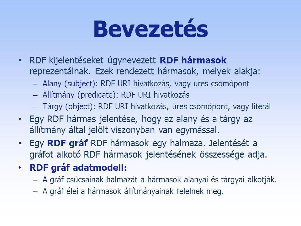 Bevezetés • RDF kijelentéseket úgynevezett RDF hármasok reprezentálnak.