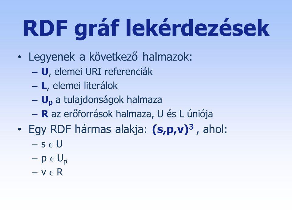 RDF gráf lekérdezések • Legyenek a következő halmazok: – U, elemei URI referenciák – L, elemei literálok – U p a tulajdonságok halmaza – R az erőforrások halmaza, U és L úniója • Egy RDF hármas alakja: (s,p,v) 3, ahol: – s U – p U p – v R