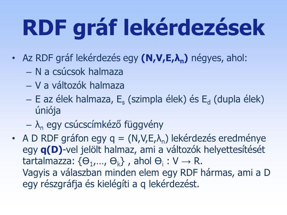 RDF gráf lekérdezések • Az RDF gráf lekérdezés egy (N,V,E,λ n ) négyes, ahol: – N a csúcsok halmaza – V a változók halmaza – E az élek halmaza, E s (szimpla élek) és E d (dupla élek) úniója – λ n egy csúcscímkéző függvény • A D RDF gráfon egy q = (N,V,E,λ n ) lekérdezés eredménye egy q(D)-vel jelölt halmaz, ami a változók helyettesítését tartalmazza: { 1,…, k }, ahol i : V → R.