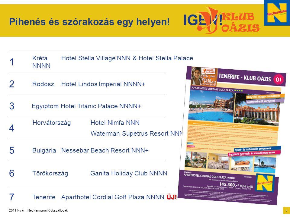 2011 Nyár – Neckermann Klubszállodák 7 5 BulgáriaNessebar Beach Resort NNN+ Pihenés és szórakozás egy helyen! IGEN! 1 KrétaHotel Stella Village NNN &