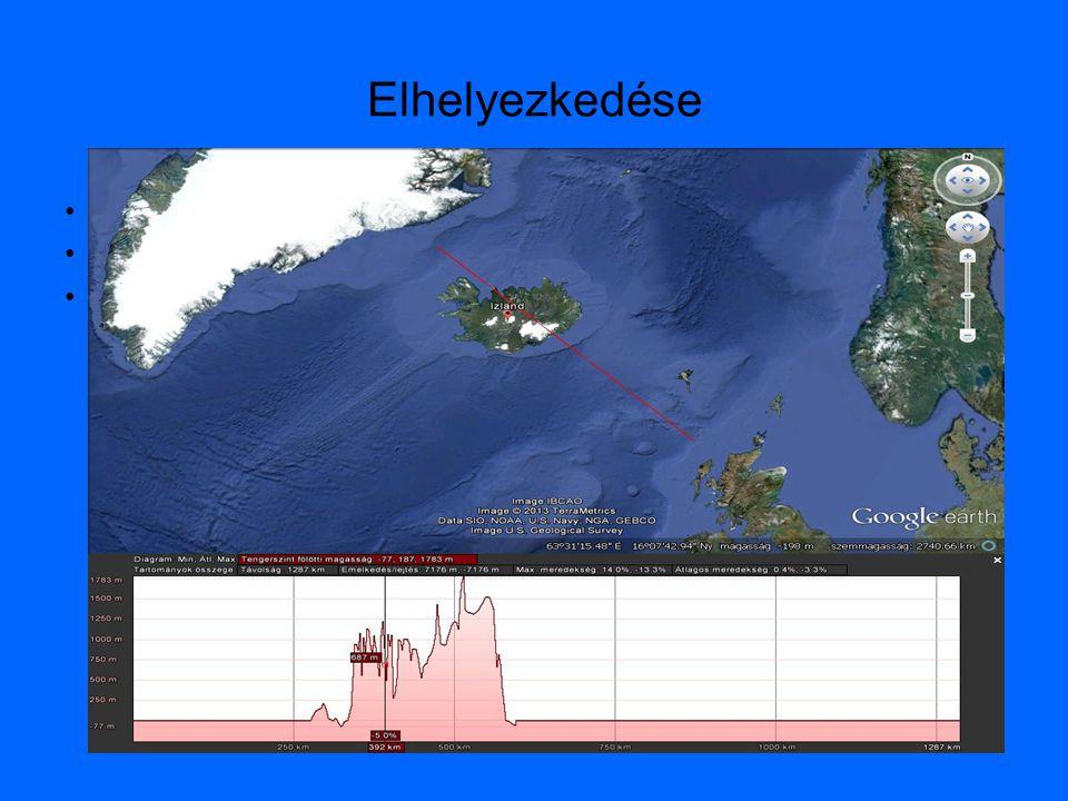Elhelyezkedése •Atlanti-óceán közepén •Két kőzetlemez határán •Aktív törésvonal felett