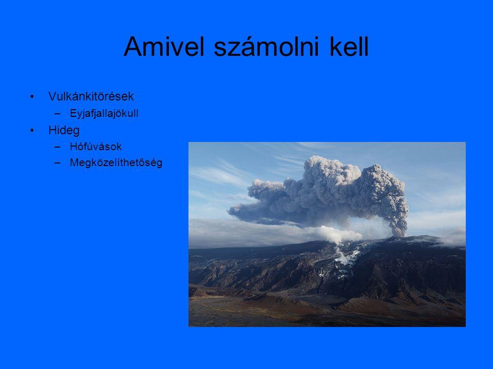 Amivel számolni kell •Vulkánkitörések –Eyjafjallajökull •Hideg –Hófúvások –Megközelíthetőség