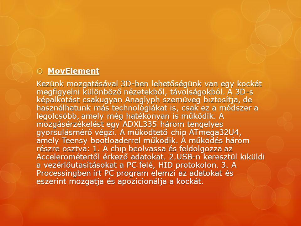  MovElement Kezünk mozgatásával 3D-ben lehetőségünk van egy kockát megfigyelni különböző nézetekből, távolságokból. A 3D-s képalkotást csakugyan Anag