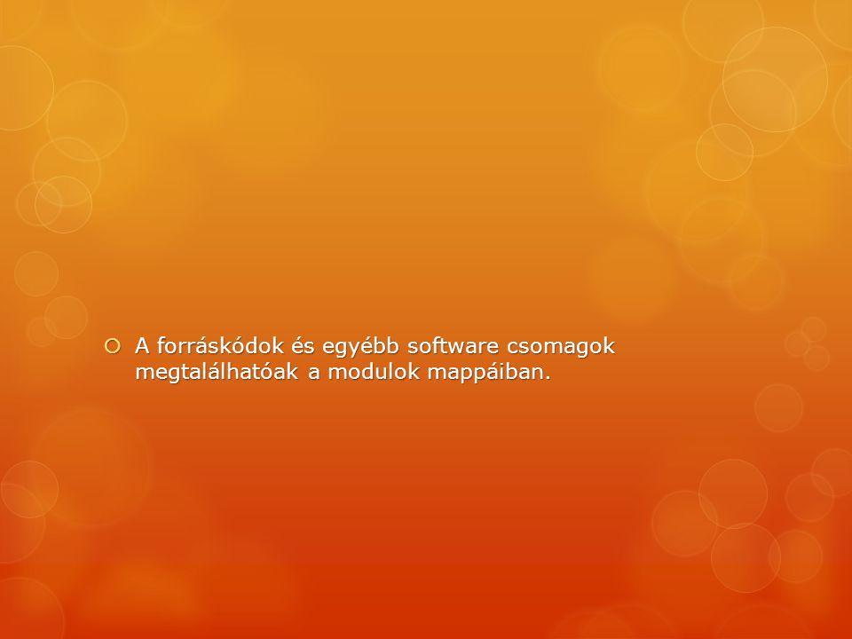  A forráskódok és egyébb software csomagok megtalálhatóak a modulok mappáiban.