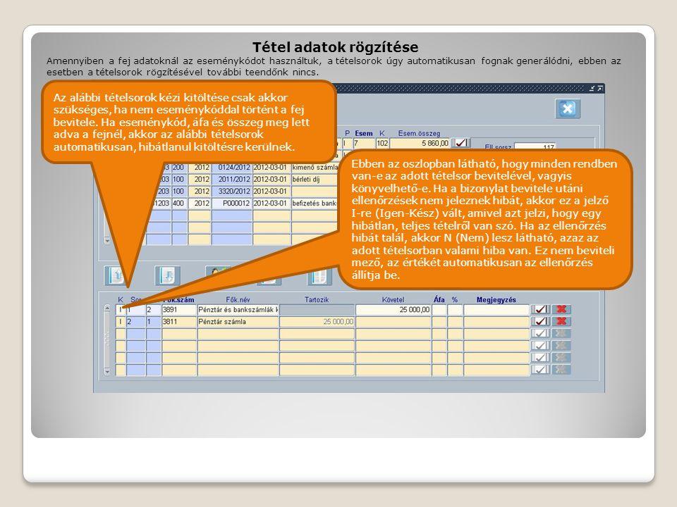 Tétel adatok rögzítése Ebben az oszlopban látható, hogy minden rendben van-e az adott tételsor bevitelével, vagyis könyvelhető-e. Ha a bizonylat bevit