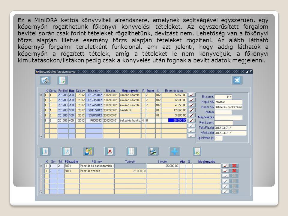 Ez a MiniORA kettős könyvviteli alrendszere, amelynek segítségével egyszerűen, egy képernyőn rögzíthetünk főkönyvi könyvelési tételeket. Az egyszerűsí