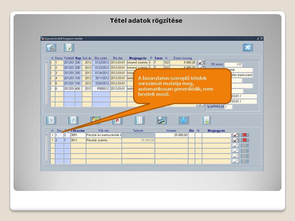 Tétel adatok rögzítése A bizonylaton szereplő tételek sorszámát mutatja meg, automatikusan generálódik, nem beviteli mező.