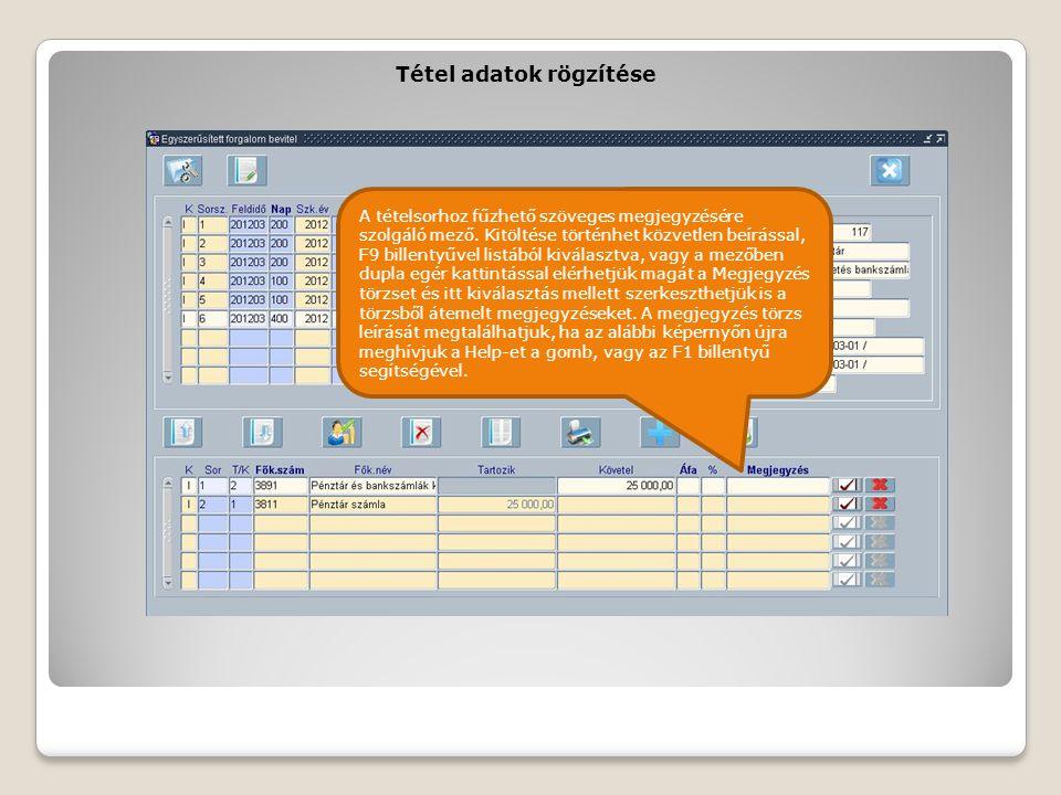Tétel adatok rögzítése A tételsorhoz fűzhető szöveges megjegyzésére szolgáló mező. Kitöltése történhet közvetlen beírással, F9 billentyűvel listából k