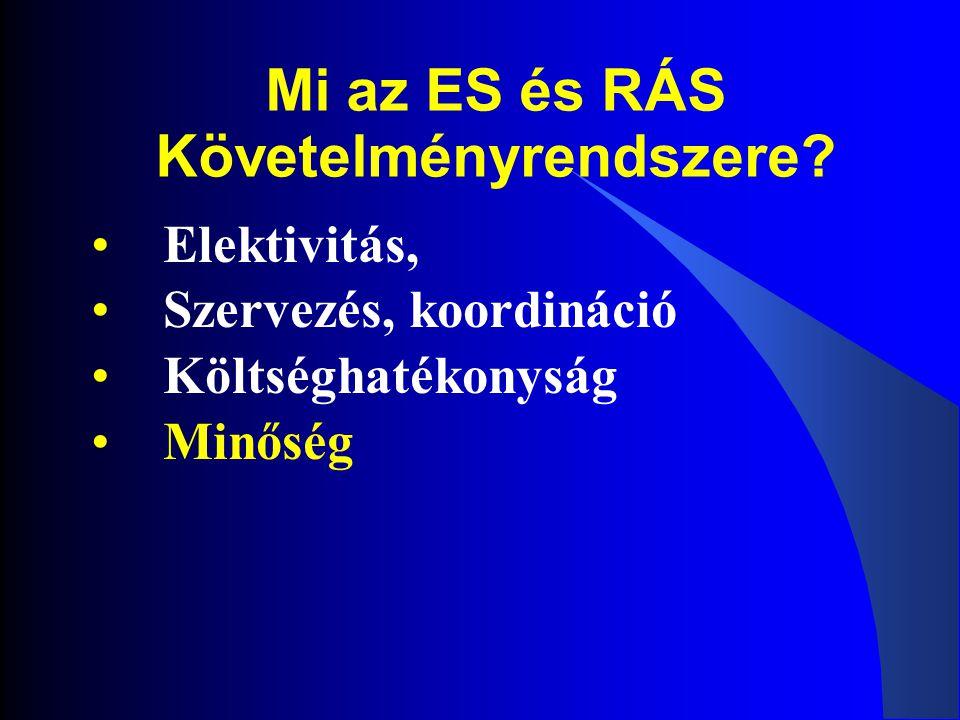 Mi az ES és RÁS Követelményrendszere? •Elektivitás, •Szervezés, koordináció •Költséghatékonyság •Minőség