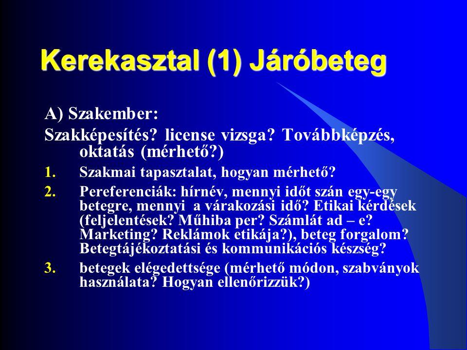 Kerekasztal (1) Járóbeteg A) Szakember: Szakképesítés? license vizsga? Továbbképzés, oktatás (mérhető?) 1.Szakmai tapasztalat, hogyan mérhető? 2.Peref