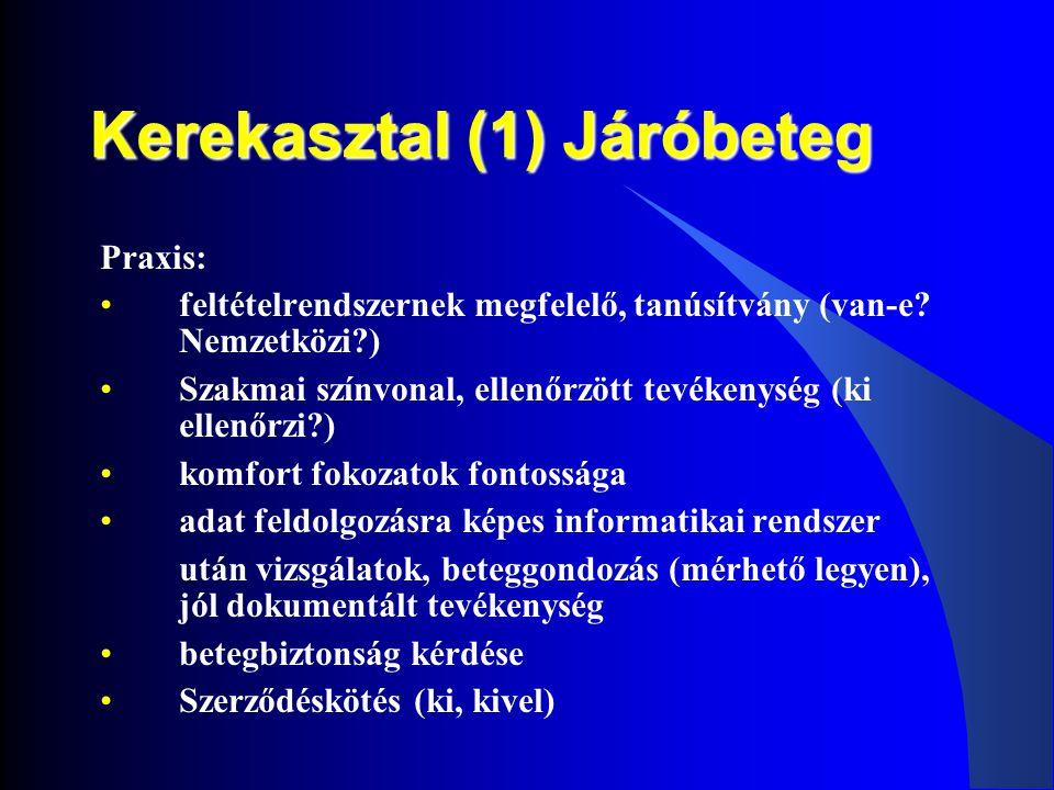 Kerekasztal (1) Járóbeteg Praxis: •feltételrendszernek megfelelő, tanúsítvány (van-e? Nemzetközi?) •Szakmai színvonal, ellenőrzött tevékenység (ki ell
