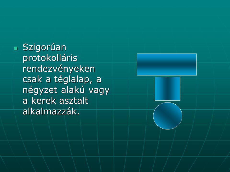 """Különleges alakú asztalok  Vannak különleges alakú asztalok is ilyen például a patkó (U) alakú, a """"T alakú, a fésűfog alakú és az """"L alakú asztalok."""