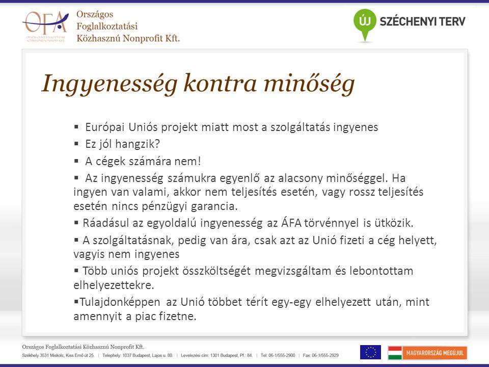 Ingyenesség kontra minőség  Európai Uniós projekt miatt most a szolgáltatás ingyenes  Ez jól hangzik?  A cégek számára nem!  Az ingyenesség számuk