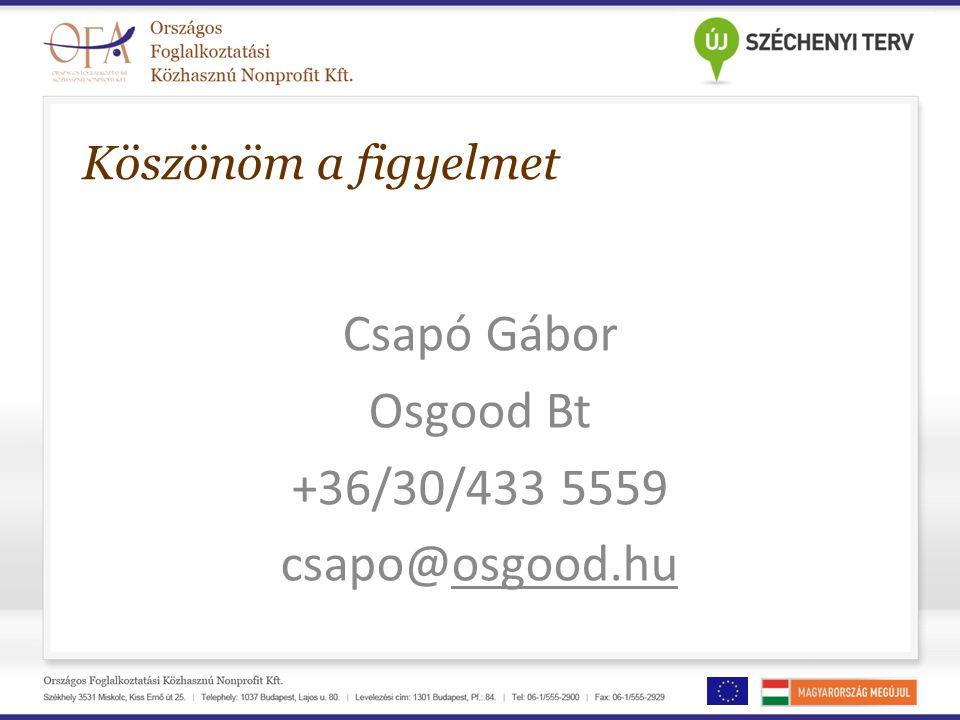 Köszönöm a figyelmet Csapó Gábor Osgood Bt +36/30/433 5559 csapo@osgood.hu