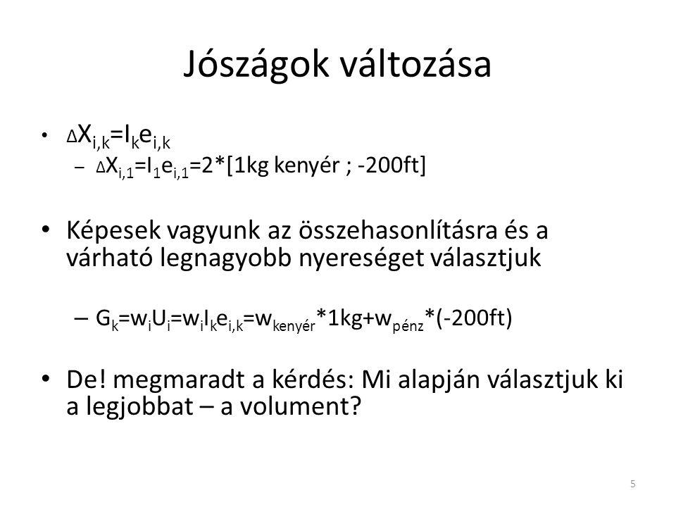 Jószágok változása • Δ X i,k =I k e i,k – Δ X i,1 =I 1 e i,1 =2*[1kg kenyér ; -200ft] • Képesek vagyunk az összehasonlításra és a várható legnagyobb n