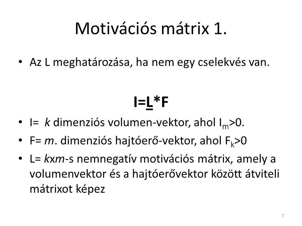 Motivációs mátrix 1. • Az L meghatározása, ha nem egy cselekvés van. I=L*F • I= k dimenziós volumen-vektor, ahol I m >0. • F= m. dimenziós hajtóerő-ve