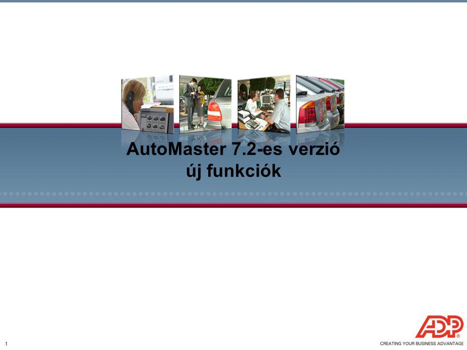 1 AutoMaster 7.2-es verzió új funkciók